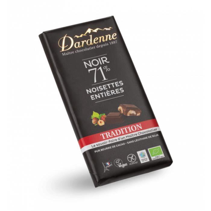 Tablette chocolat noir noisettes entières 180gr