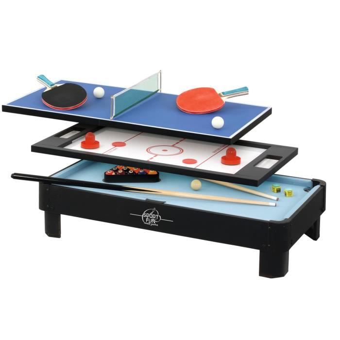 sport and fun table de jeux 3 en 1 sans pied ping pong billard palets achat vente. Black Bedroom Furniture Sets. Home Design Ideas