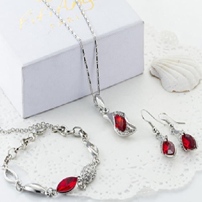 TRENDY rouge cristal Coeur Ajuster Boucle or Argent Bracelet Femmes Cadeau D/'Anniversaire