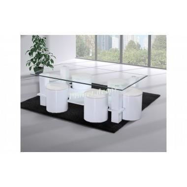 Table de salon en verre avec 6 poufs simili cuir b achat for Tables basses de salon en verre