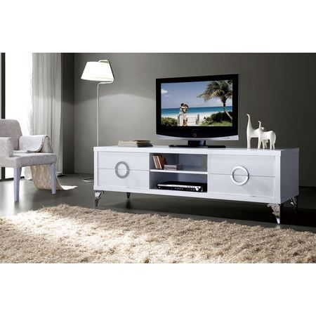 meuble salon s jour tv hi fi laqu blanc brilla achat. Black Bedroom Furniture Sets. Home Design Ideas