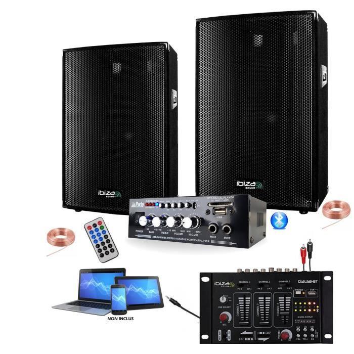 PACK SONO PACK SONO DJ 600W + AMPLI USB BLUETOOTH + 2 ENCEIN