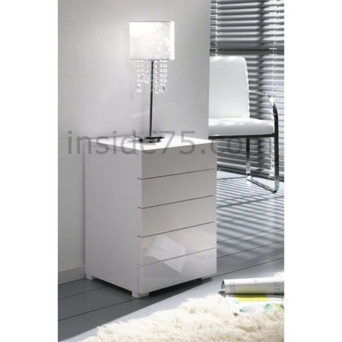 White chevet 5 tiroirs laqu blanc design achat vente for Modele table de nuit