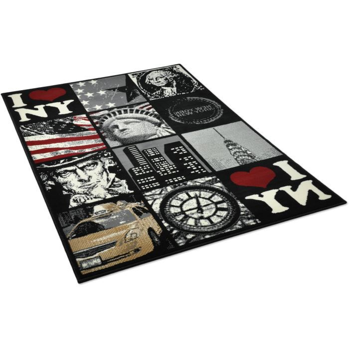 tapis salon patchwork new york noir universol achat