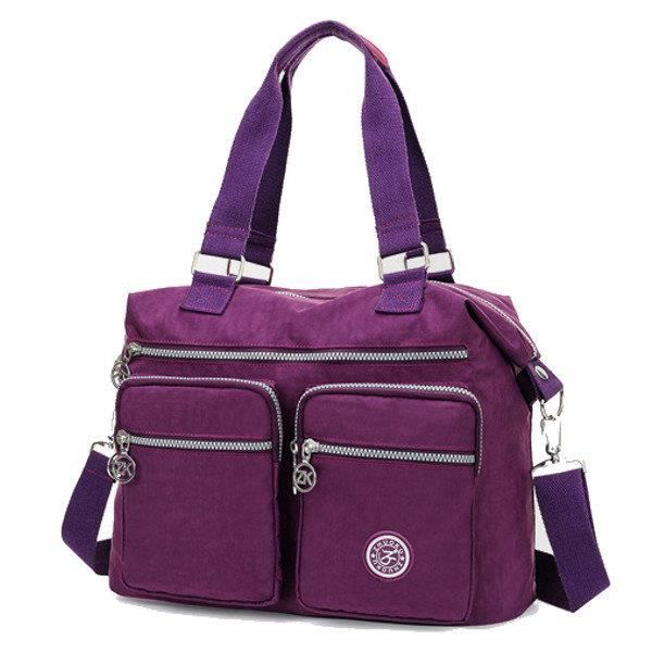 SBBKO987Femmes Multi Front Pockets Tote Sacs à main Casual Sacs bandoulière Light Waterproof Crossbody Bags Rose rouge