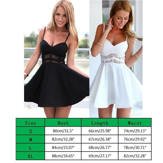 Femme V cou Dentelle Robe Manches Mini Robe Cocktail Sans Manches
