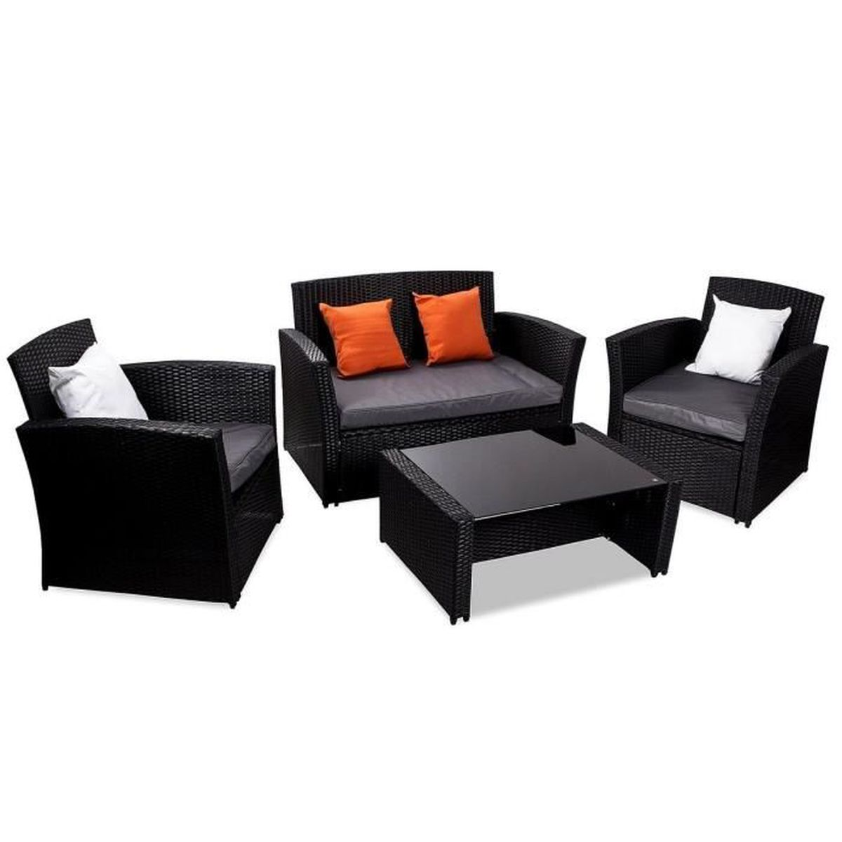 Salon de jardin Valentino - 2 fauteuils, un canapé et une ...
