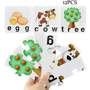 PUZZLE 12PCS Animal Puzzle blocs en bois Jigsaw Kid Leari