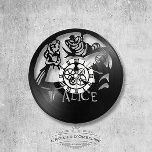 HORLOGE - PENDULE Horloge murale en vinyle 33 tours fait-main - thèm