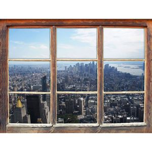 STICKERS New York City Panorama fenêtre en 3D look, mur ou
