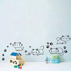 Autocollant sticker voiture chambre enfant chat couple decoration mural r1