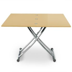 TABLE BASSE Table basse relevable Carrera Beige laqué
