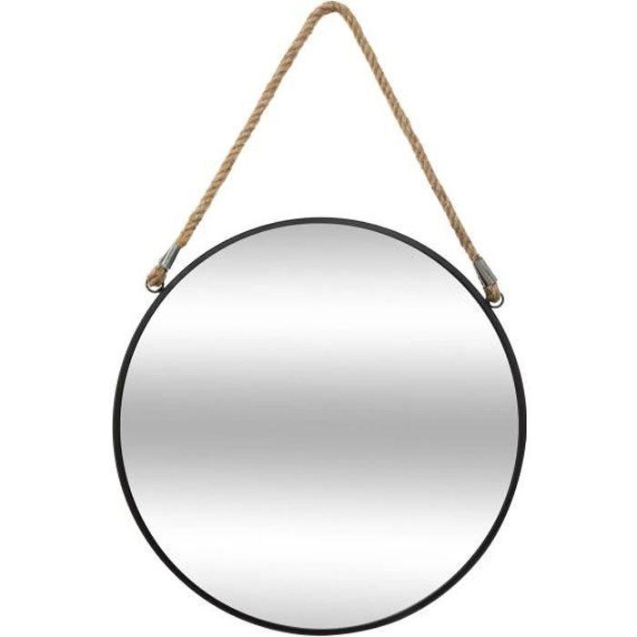 Miroir à corde Rond en métal - Noir - Ø 37 cm