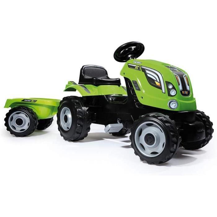 Smoby - Tracteur Farmer XL + Remorque - Tracteur à Pédales Enfant - Siège Ajustable - Volant avec Klaxon - Capot Ouvrable - 710111