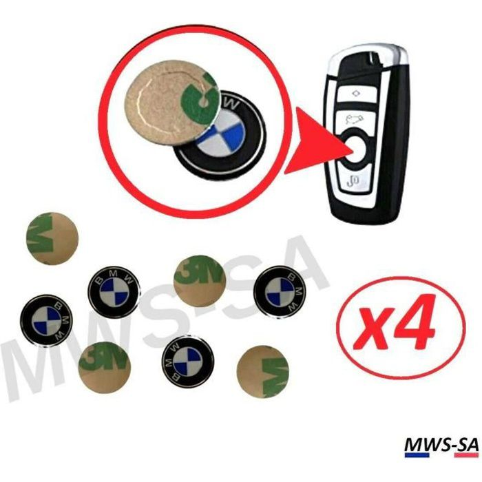 4x Logo Autocollant Clé BMW 11 mm en Aluminium Emblème Stickers Clefs Voiture