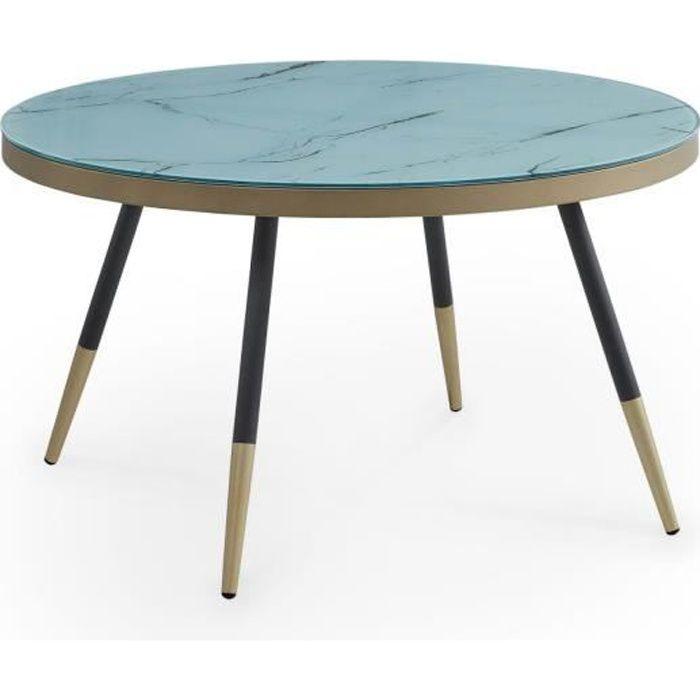 Table basse ronde en verre imitation marbre