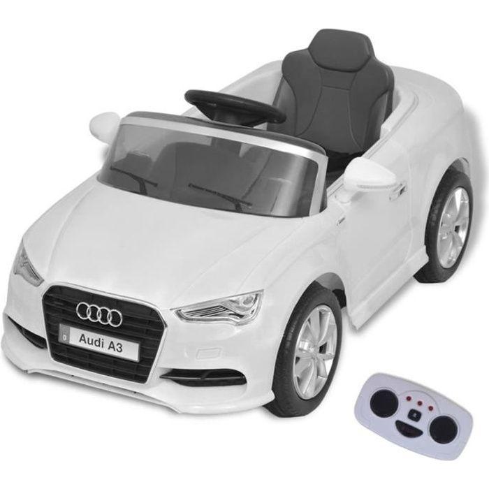 Voiture Électrique pour Enfants - Audi A3 Télécommandée - 3-7 Ans - 2,8 Km-h - Blanc
