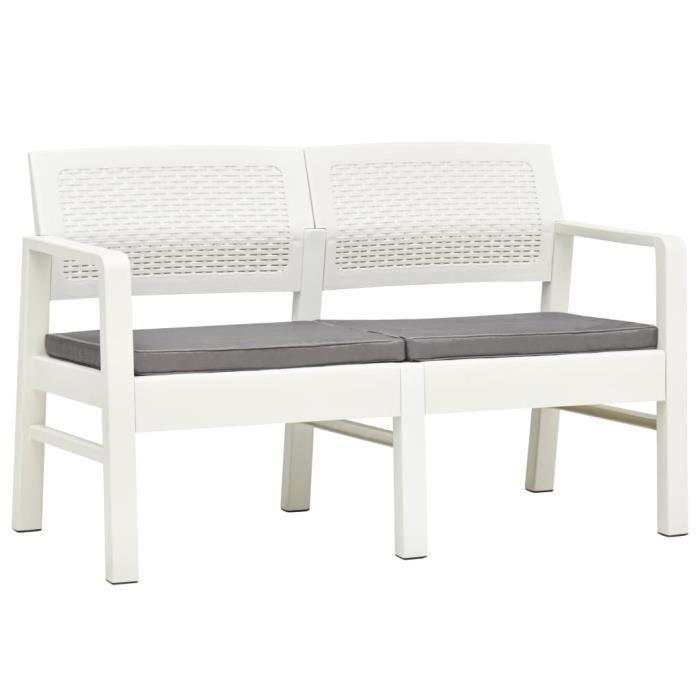 Banc de Jardin Fonte 2-3 Places à l'Extérieur chaise Banquette Terrasse à 2 places et coussins 120 cm Plastique Blanc
