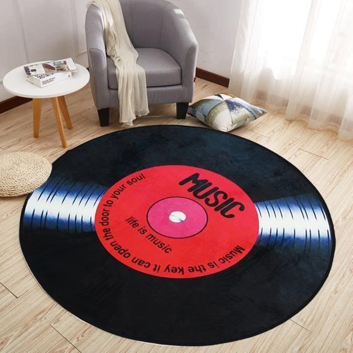 NEUFU Vinyle Records Tapis de Sol Rond Europe Mode Rétro Noir pour Salon Chambre Tapis de Sol Diamètre 100CM Em42973