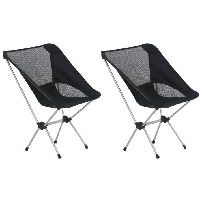 2 Pcs Chaises de Camping Pliables et Sac - Pour Chasse & Camping & Pêche & Voyages - Noir et Argenté - 54 x 50 x 65 cm