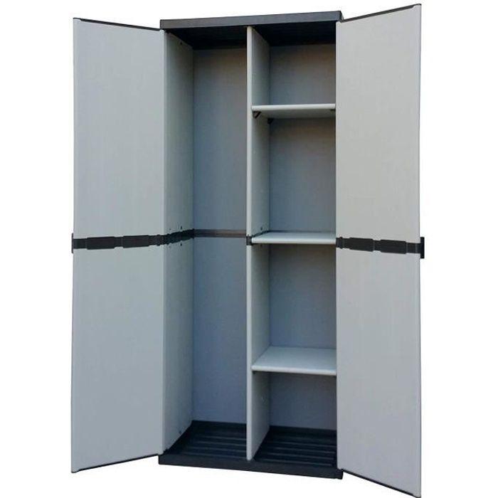 Adventa , Armoire Porte-balais en résine 2 Portes, étagères réglables (intérieur/extérieur), Gris Noir, 68 x 39,5 x 168 - 9Q205C04
