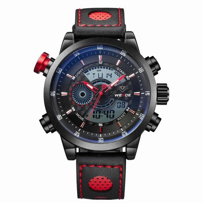 WEIDE WH-3401 Montre de Sport étanche LED numérique garçons Hommes(Noir + Rouge)