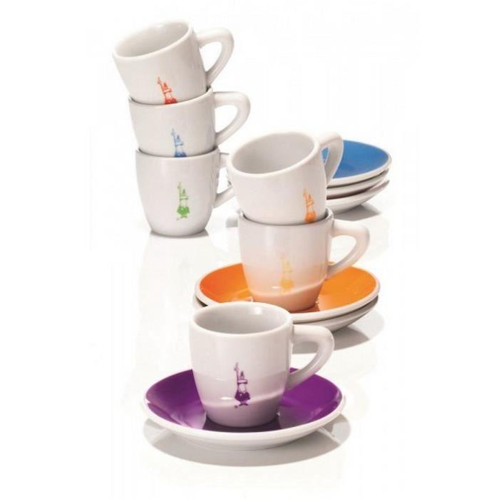 Bialetti - set de 6 tasses à café avec soucoupe - y0tz017