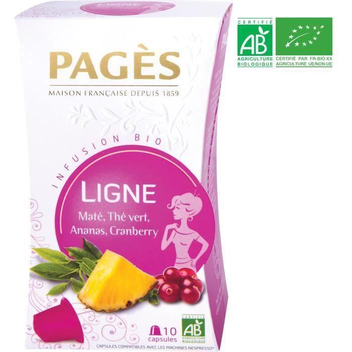 [LOT DE 3] PAGES Infusion Ligne - Maté, Thé Vert, Ananas, Cranberry - Capsules - Bio