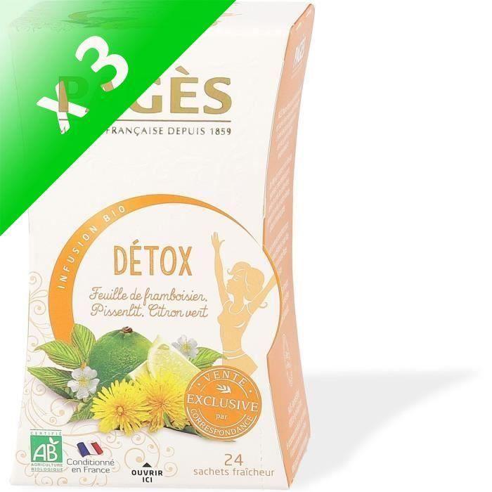 [LOT DE 3] INFUSION DETOX (feuilles de framboisier, pissenlit, citron vert) BIO 24 sachets