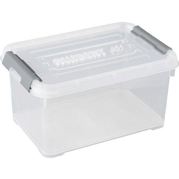 ALLIBERT Boîte de rangement Handy Plus - Clips gris - Couvercle transparent - 6 L
