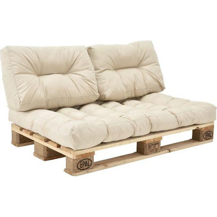 1x Coussin de siège pour canapé d'euro palette crème coussins de palettes In-Outdoor rembourrage meuble