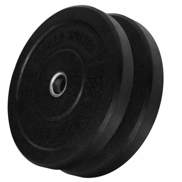 Gorilla Sports - Poids disques olympiques Hi Temp avec absorbeur de chocs - Noir - De 2,5 kg à 25 kg - Poids : 20 KG (2 x 10 KG)