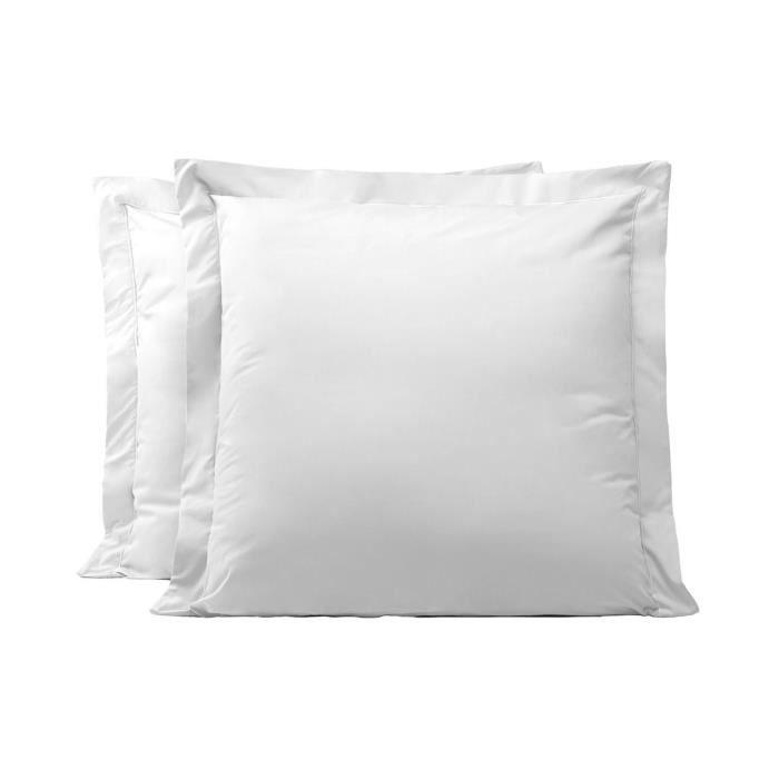 LINANDELLE - Lot de 2 taies d'oreillers coton percale 200 fils DESIREE - Blanc - 65x65 cm