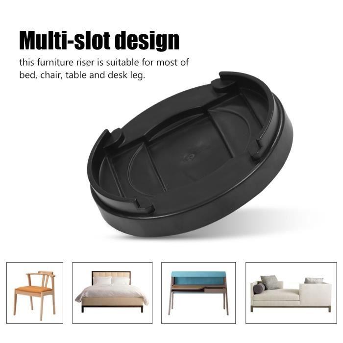 HES-✦8 pièces multi-fente meubles jambe rehausseurs lit antidérapant pour canapé bureau table en plastique (noir)✦