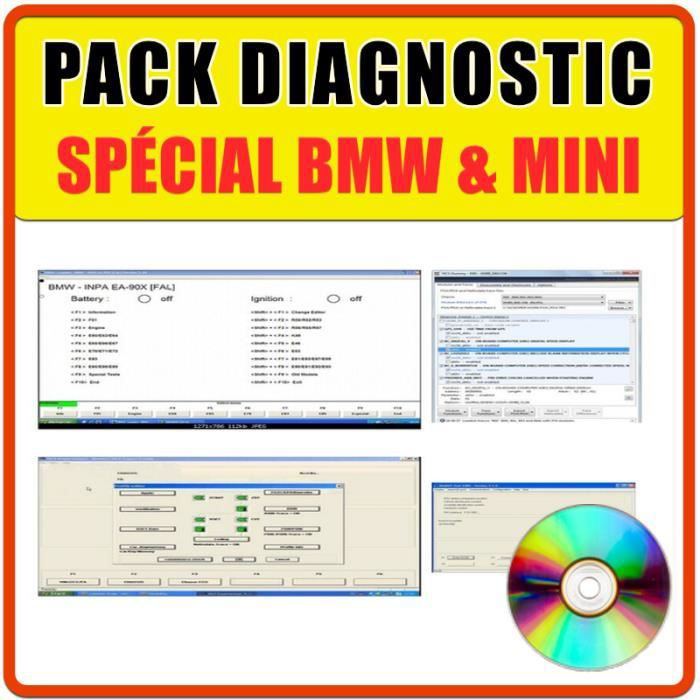 Pack Diagnostic Auto Pro - Compatible avec B.M.W et Mini - INPA 5.0.1 / NCS Expert & NCS Dummy/EDIABAS/WINKFP/ISTA-P & ISTA-D/RHEING