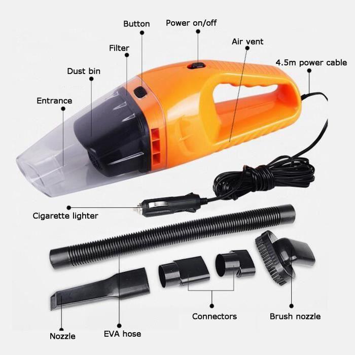 MOONMINI® 120W Aspirateur de Voiture, Aspirateur à Main Voiture, Aspirateur Auto pour Voiture Aspirateur à Main Portable (Orange)