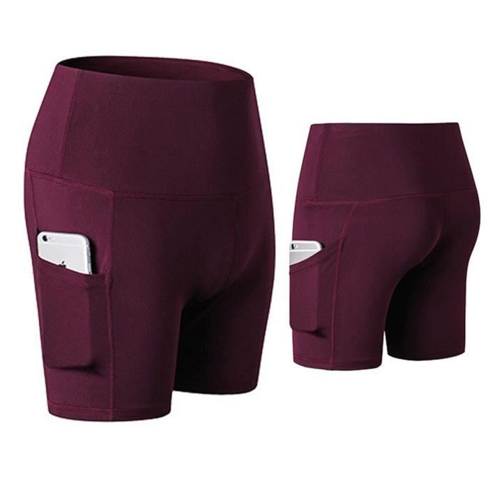Femmes Pantalon à Trois Points Shorts Sport Legging PRO Fitness Sec Rapide Taille Haute Élasticité Musculation avec Poches Rouge