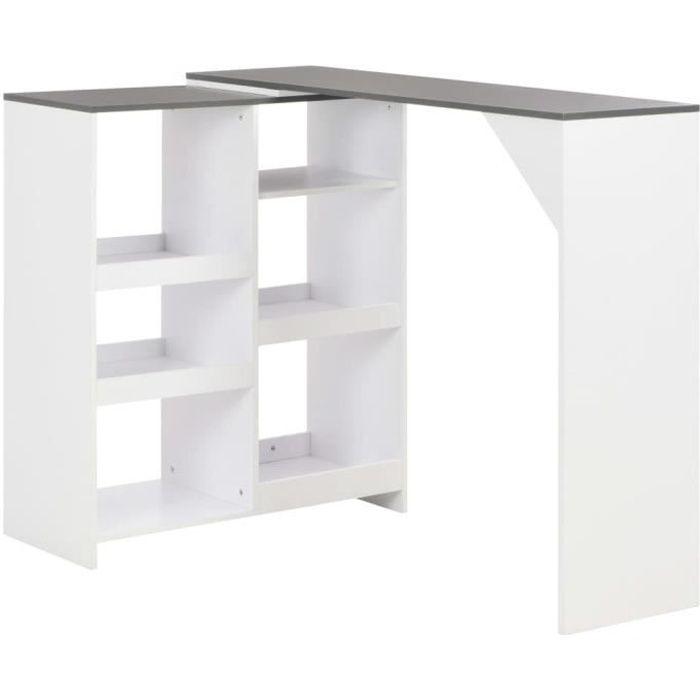 Table de bar Table de salle à manger avec tablette amovible Blanc 138 x 40 x 120 cm