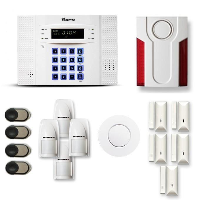 Alarme maison sans fil DNB 4 à 5 pièces mouvement + intrusion + détecteur de fumée + sirène extérieure - Compatible Box internet et