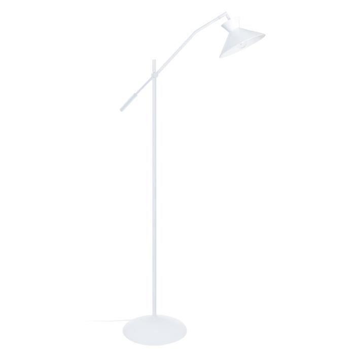 LEEDS Lampadaire en acier 1 lumière - Abat-jour Conique en acier - 90 x 25 x H175 cm - Blanc - E27