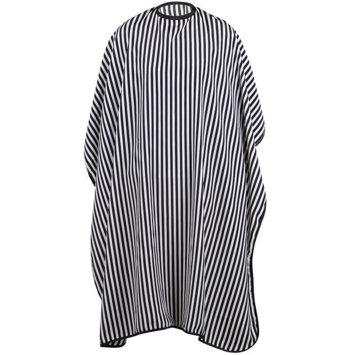 TRIXES Blouse de Protection Intégrale Noir et Blanc Monochrome pour Coiffeurs Taille Ajustable Résistante à l'Eau