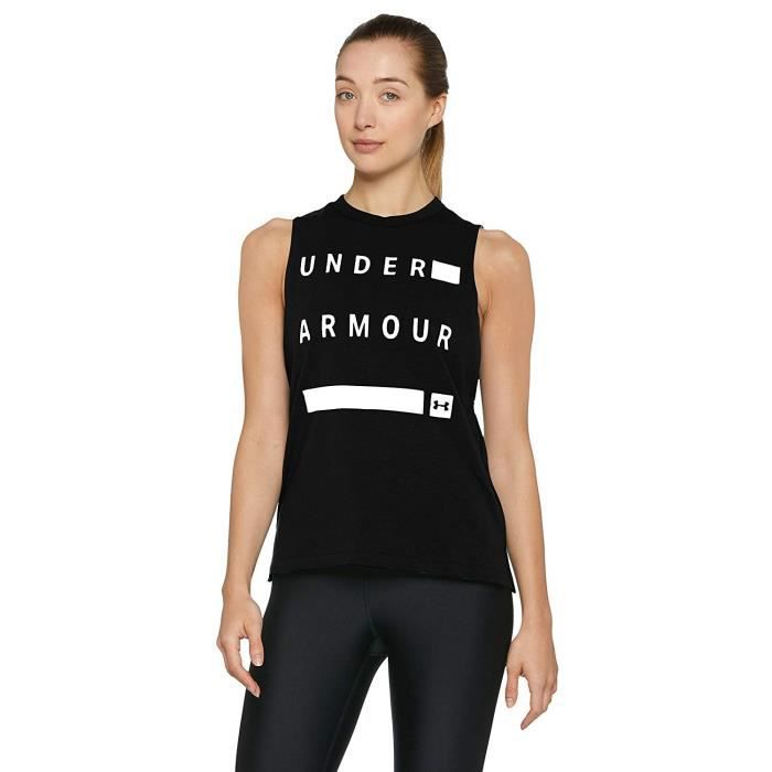 Under Armour Muscle Linear Débardeur Femme, Noir, FR (Taille Fabricant : XS) - 1310482-001