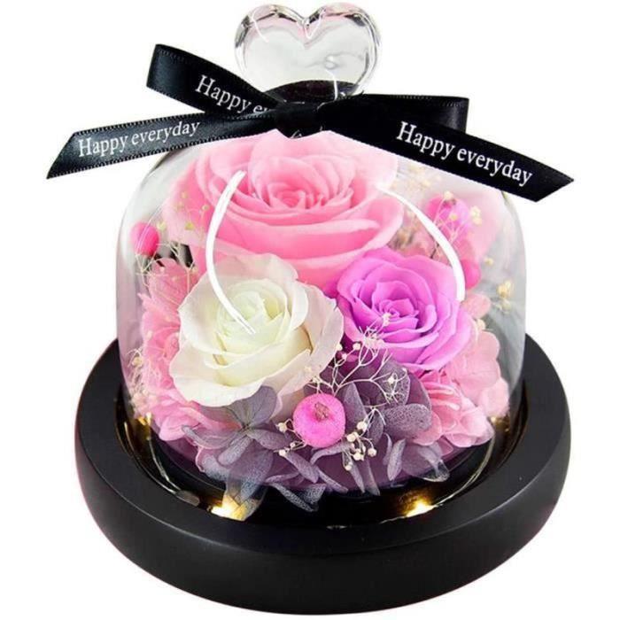 BTH20753-Naturelle Rose Eternelle sous Cloche Couvercle en Verre Coeurs pour Fête des Mères, Saint Valentin, Anniversaires, Ma