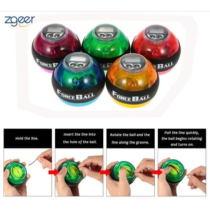 LED Poignet Boule Powerball jusqu'à 12000 tr/min Pour la Préhension et les Avant-bras, Renforce les Muscles des Avant-bras Vert