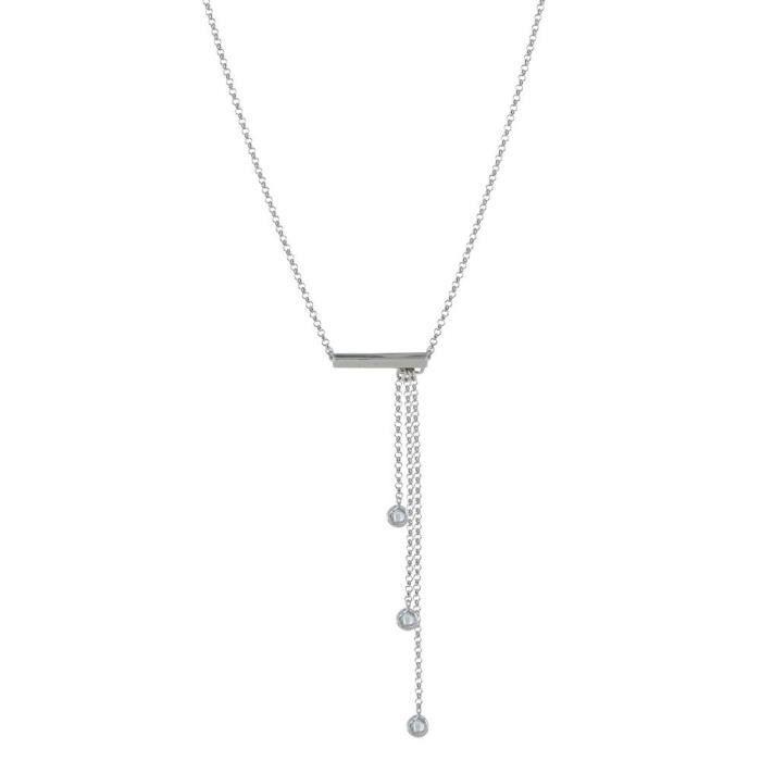SAUTOIR ET COLLIER Collier Rhodium des femmes trois chaînes et strass