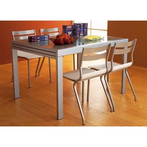 Table 120 X 90 Cm A Rallonge Satinee Verre Noir Achat