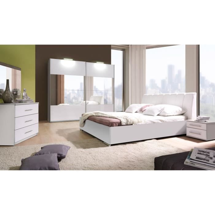 Chambre coucher compl te verona blanche laqu e achat for Chambres a coucher adultes completes