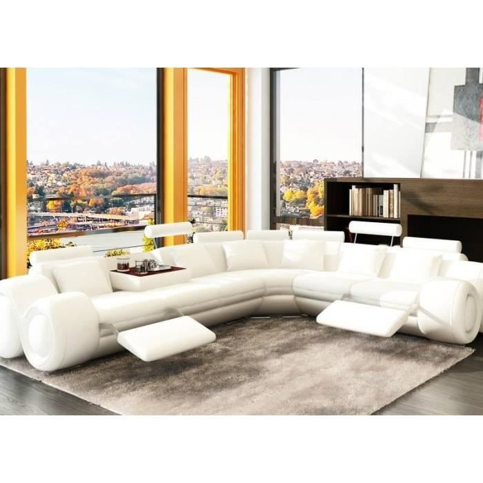 canap d 39 angle design en cuir blanc avec 2 relax achat vente canap sofa divan cuir. Black Bedroom Furniture Sets. Home Design Ideas