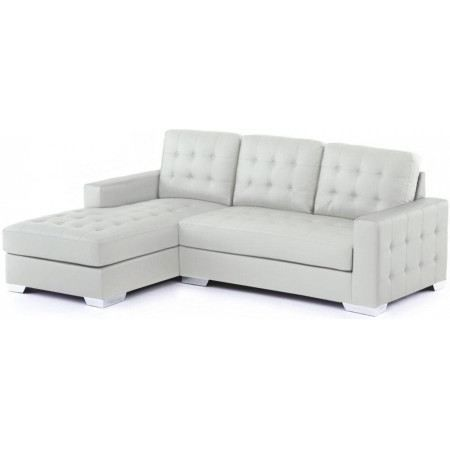 canap d 39 angle gauche capitonn blanc marco achat vente canap sofa divan cdiscount. Black Bedroom Furniture Sets. Home Design Ideas