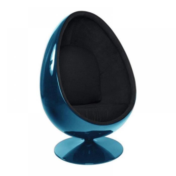 fauteuil oeuf boule design bleu noir achat vente fauteuil mati re de la structure. Black Bedroom Furniture Sets. Home Design Ideas